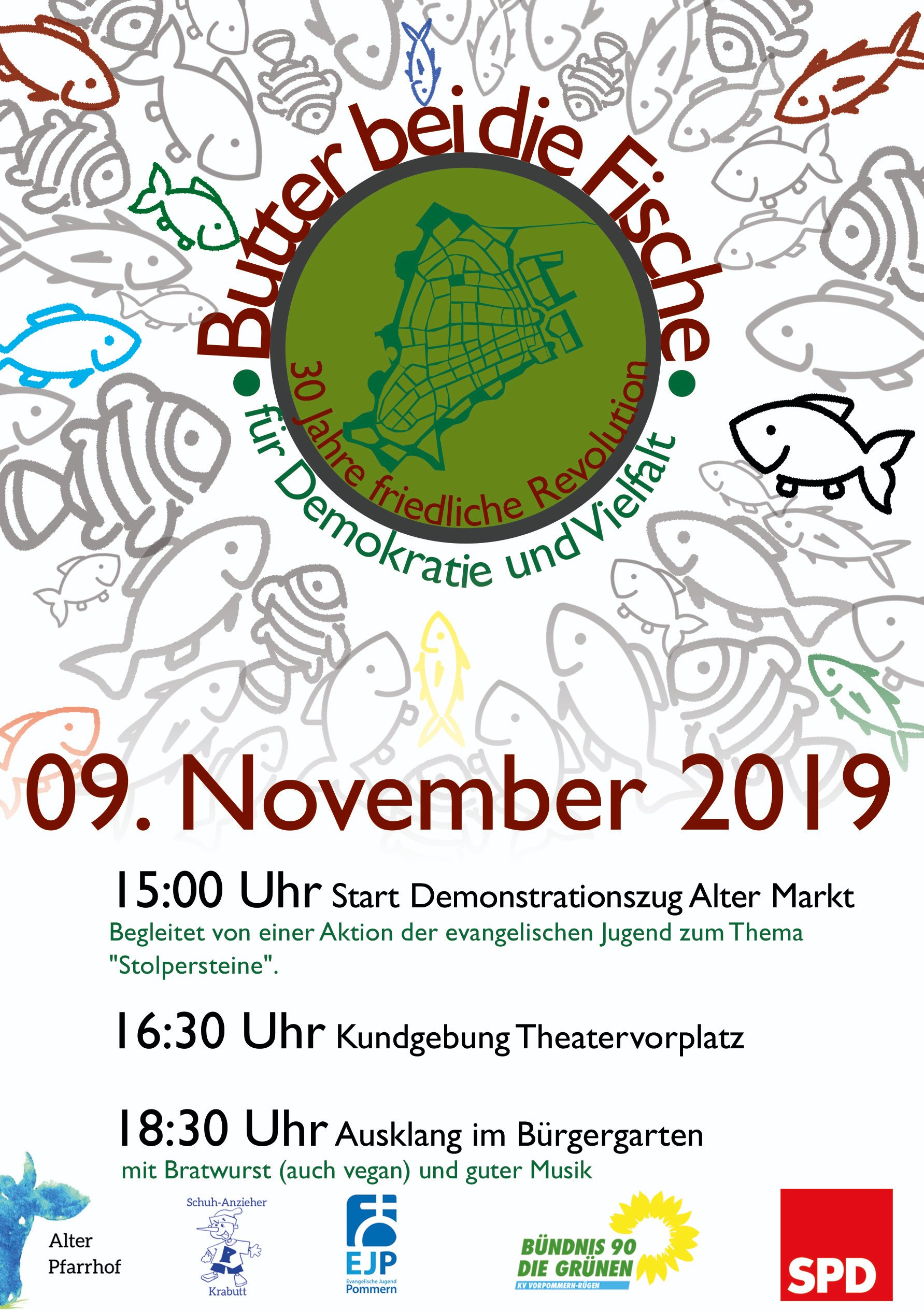 Demo für Demokratie und Vielfalt am 09. November in Stralsund