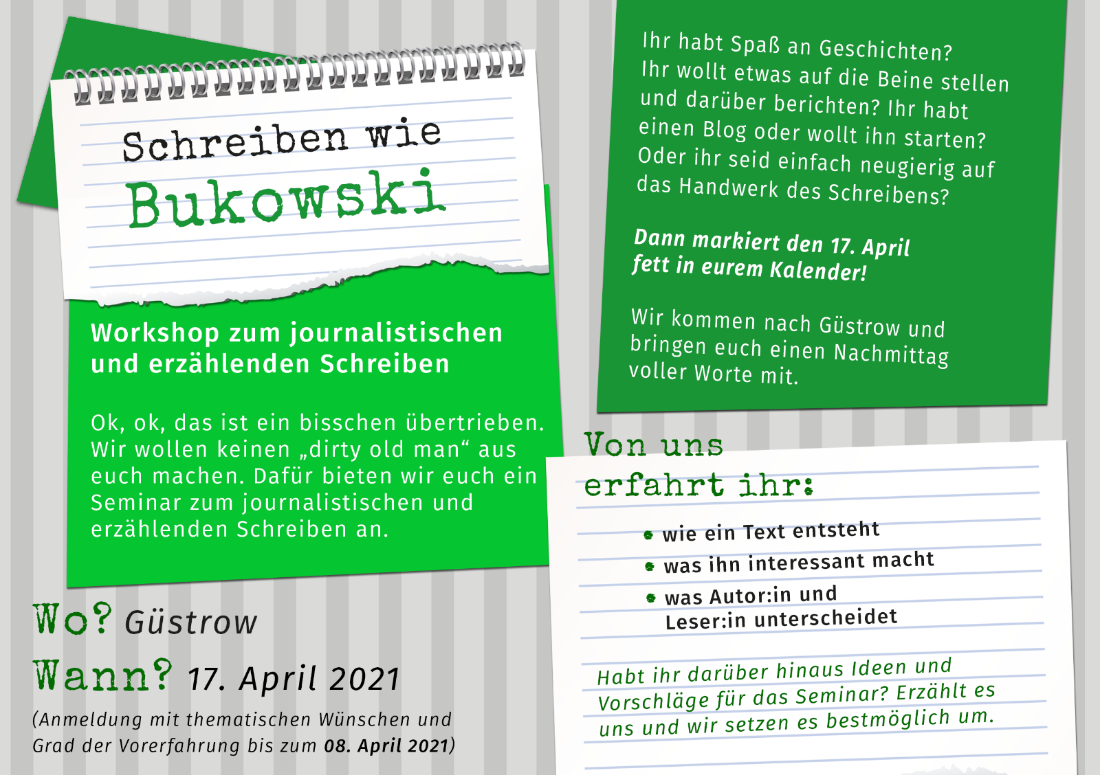 """Nun online: """"Schreiben wie Charles Bukowski"""" Workshop zum journalistischen und erzählenden Schreiben"""